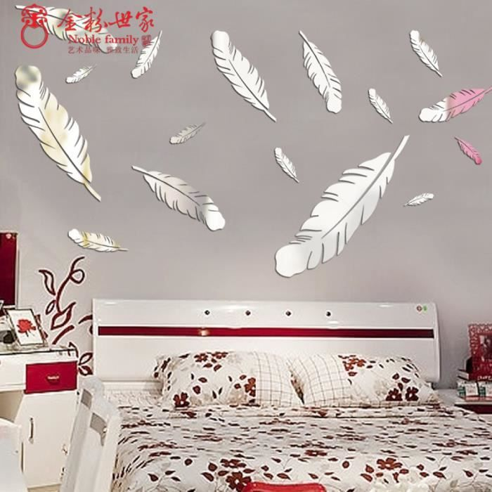 5 pcs set 3d stickers muraux plume maison decoration for How to decorate home in simple way
