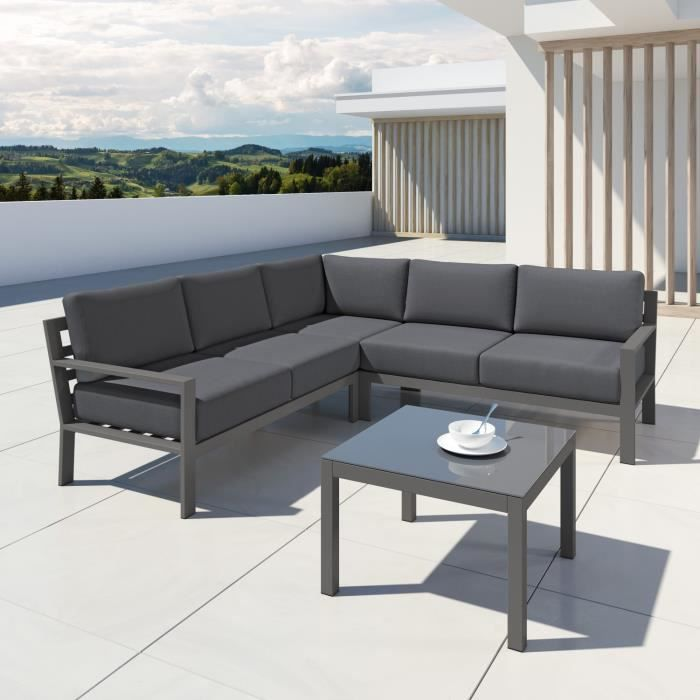 MIO - Ensemble salon de jardin design aluminium - Gris ...