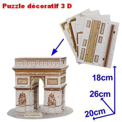 puzzle cr atif d coratif 3d arc de triomphe 26 pcs achat vente puzzle cdiscount. Black Bedroom Furniture Sets. Home Design Ideas