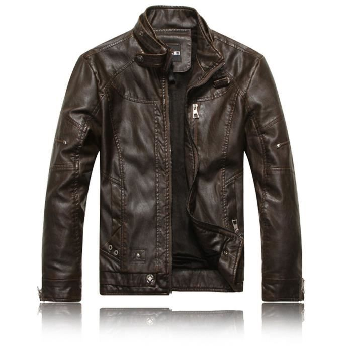 blouson homme cuir moto veste hiver parka marque luxe doublure casual motorcycle pp jacket. Black Bedroom Furniture Sets. Home Design Ideas