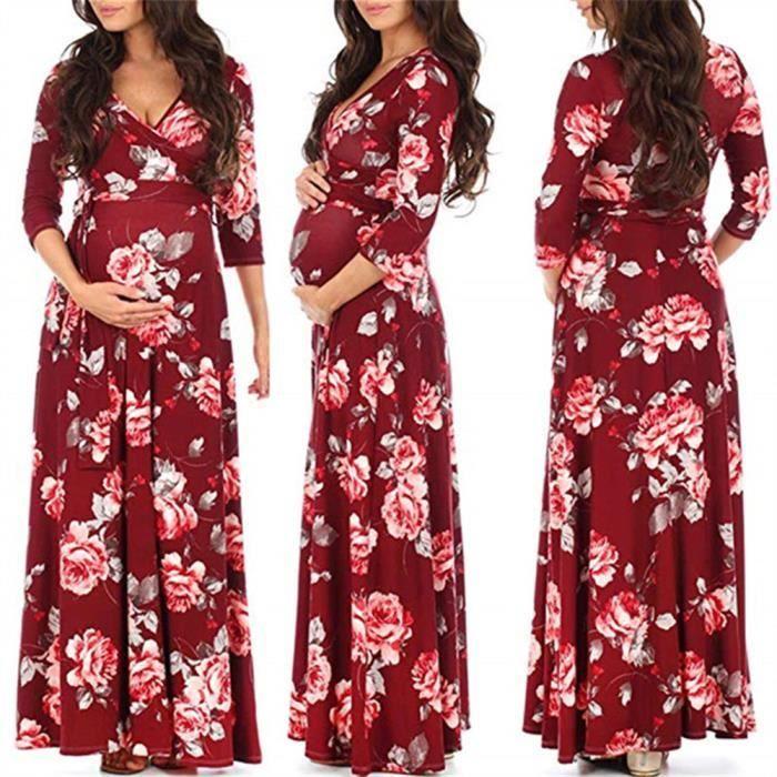 Femme Enceinte Imprimer Wrap Maternite Robe Reglable Ceinture Multi Fonction Rouge Rouge Achat Vente Robe Cdiscount