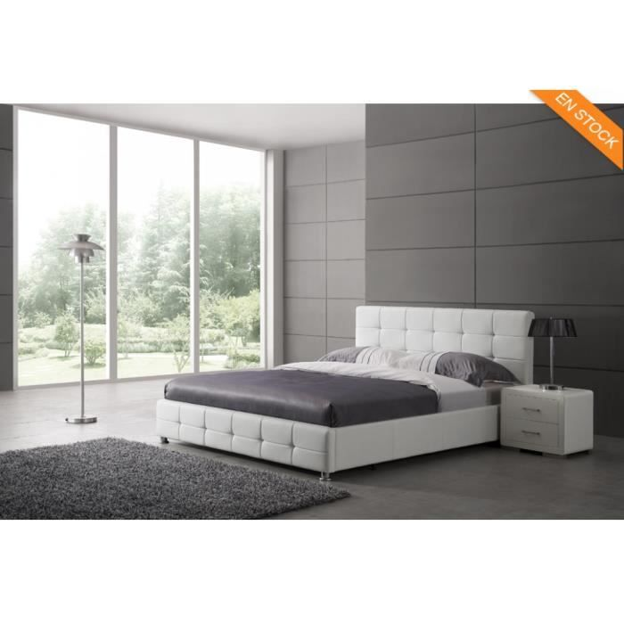 sommier lit sommier avec t te de lit capitonn e simil. Black Bedroom Furniture Sets. Home Design Ideas