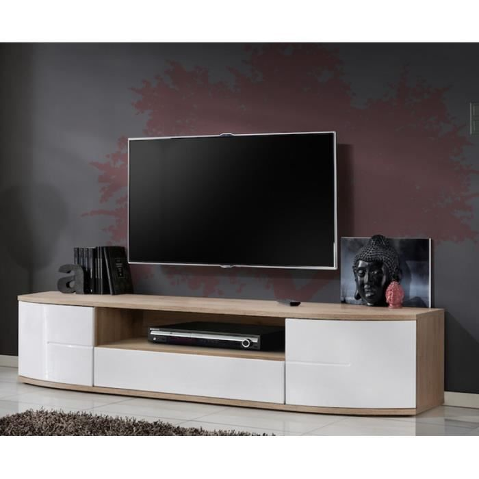 paris prix meuble tv design ontario 190cm blanc achat vente meuble tv paris prix. Black Bedroom Furniture Sets. Home Design Ideas