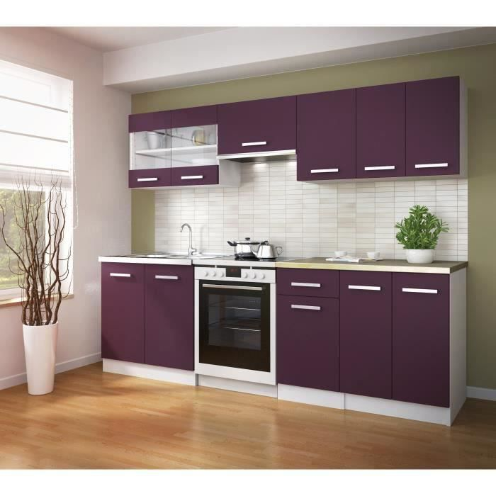 ultra cuisine compl te l 2m40 aubergine mat achat. Black Bedroom Furniture Sets. Home Design Ideas