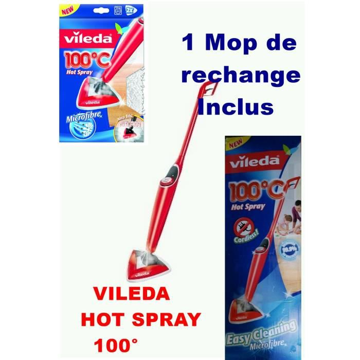 vileda hot spray 100 nettoyage des sols la vapeur 1 mop de remplacement inclus achat. Black Bedroom Furniture Sets. Home Design Ideas