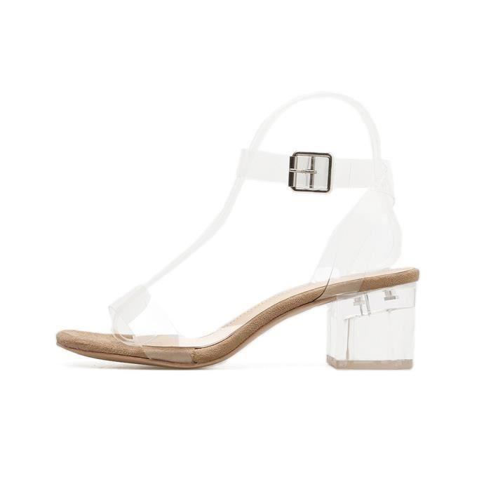 Nouveau Femmes Place gîté Boucle Bracelet en PVC transparent Sandales Chaussures de mariage Kaki