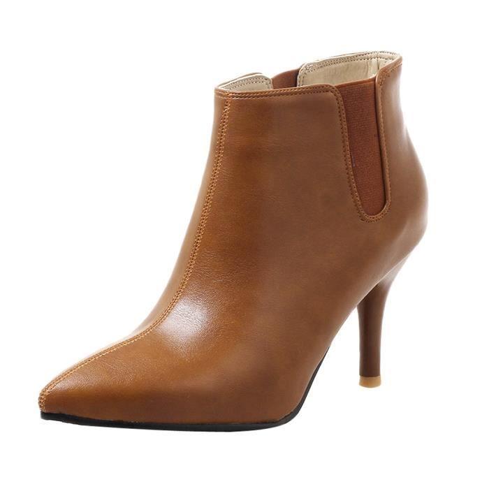 Bottes courtes en cuir pour dames  chaussures à talons pour femmes sauvages ZHQ81129354YE41_YOU