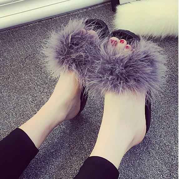 Chaussures Femme Chaussons Hiver Chaud Pantoufles Fille Cuir Mules Fourrure fzgfrwqn