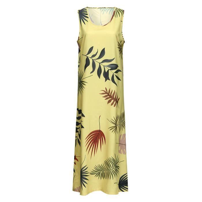 Les femmes d'été de style O-cou sans manches imprimé taille plus Casual Ladies Dress  YMZ90416093YE Jaune
