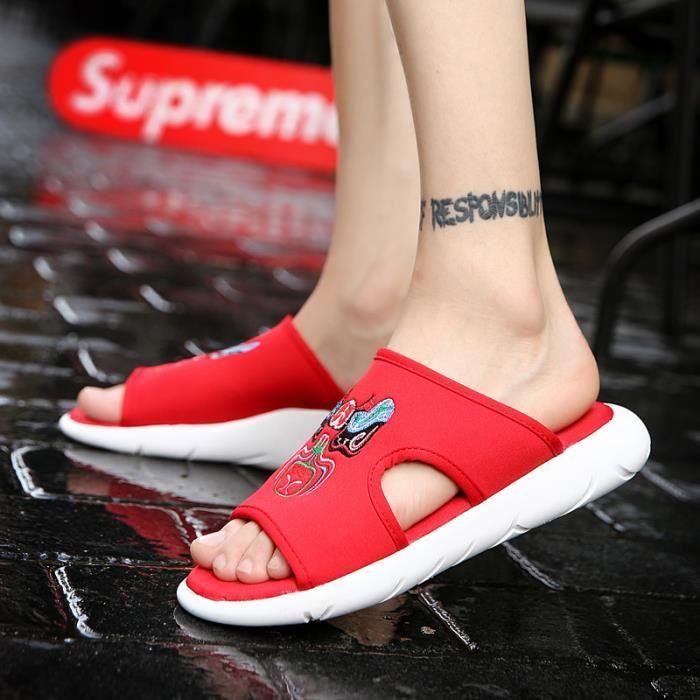 Casual Mode d'été TONG Hommes Paresseux Plage Flip-Flops Chaussures  LKG-y3cx164399Rouge