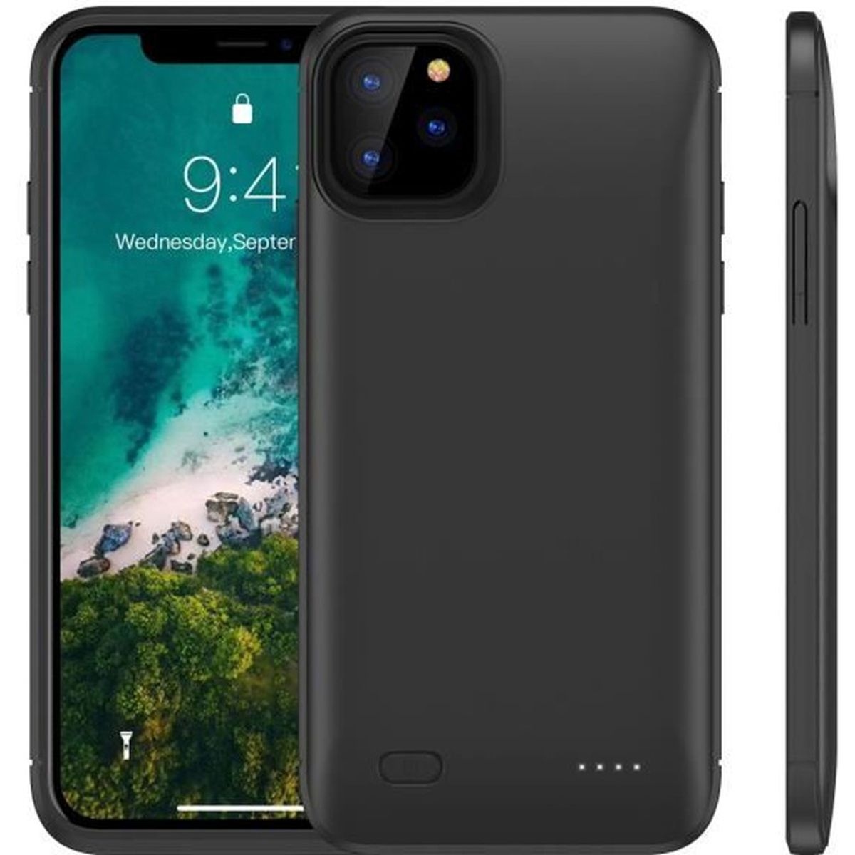 Coque Batterie pour iPhone 11 Pro Max 6.5 Inch 6200mAh Externe Portable Banque de puissance /Étui de Chargeur de batterie /étendu Rechargeable de secours Compatible avec iPhone 11 Pro Max 6.5 Inch Noir
