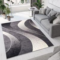 TAPISO Dream Tapis de Salon Design ModerneNoir Gris Crème Vagues Fin 200 x 300 cm