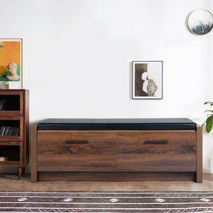 BANC  Banc de rangement en bois avec 2 tiroirs et couss