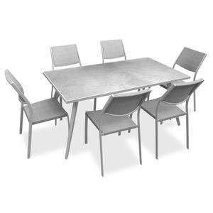 SALON DE JARDIN  Ensemble 1 table rectangulaire avec 6 chaises en m