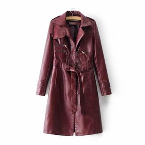 Imperméable - Trench Fashion Trench Coat Simili Cuir Femme Mi-Longue Tr