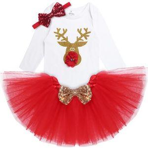 2Pcs Noël bébé fille ange robe combinaison tenues Tutu Habillez Cadeau