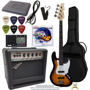 BASSE Pack Basse électrique jazzbass sunburst Ampli 30W