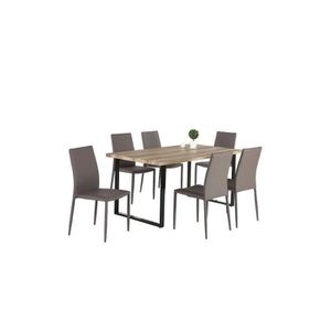 TABLE À MANGER COMPLÈTE Ensemble 1 table DAVID + 6 chaises NOAH grises. Se