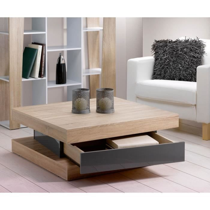 fixy table basse coloris ch ne clair tiroir gris achat vente table basse fixy table basse. Black Bedroom Furniture Sets. Home Design Ideas