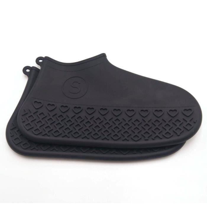 Protège chaussures unisexe, couvre chaussures imperméable en Silicone protecteurs de chaussures unisexe bottes de - Type Black S