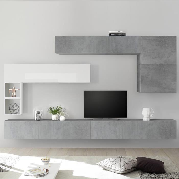 Meuble TV suspendu blanc laqué et gris PIANA Gris L 275 x P 30 x H 200 cm