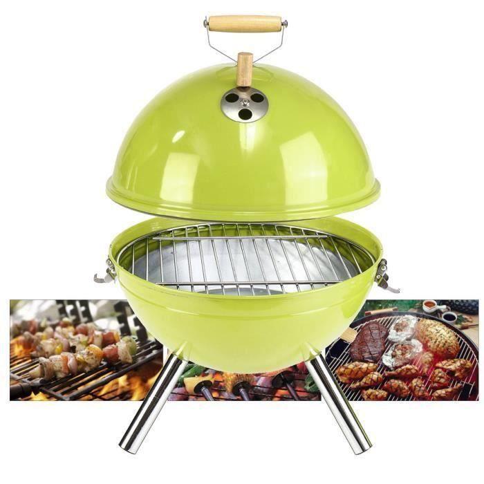 Barbecue Boule à Charbon Grill Mini avec Couvercle Fonctionnel et Pratique Facile à Monter 30x40cm