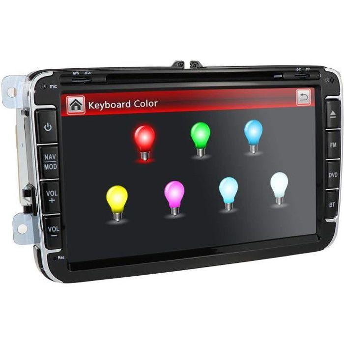 Hizpo Autoradio 2 DIN pour VW Golf Passat Jetta Skoda Seat avec système Wince-System Lecteur DVD GPS Navigation FM AM-Radio Bluet