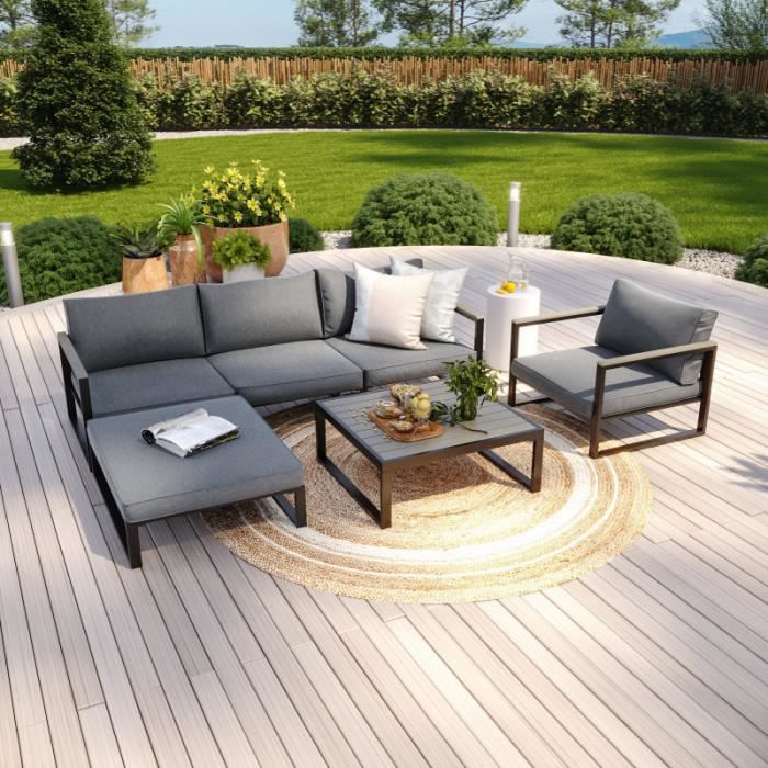 Salon de jardin angle aluminium polywood 5 Places couleur gris - VALENCE
