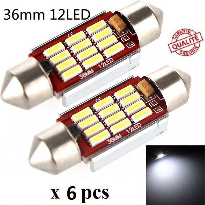 6 ampoule Navette LED C5W 36mm ANTI ERREUR CANBUS plafonnier plaque 6500k