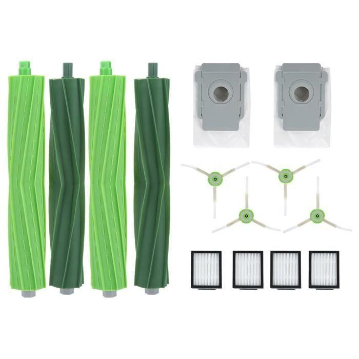 EBTOOLS Pièces de robot nettoyeur Kit de sac à poussière de filtre de brosse latérale de brosse principale pour Roomba I7 E5 E6