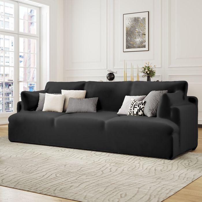 Housse de Canapé 3 Places avec Accoudoir Extensible - Revêtement de Canapé Pour salon chambre - NOIR - MONDEER