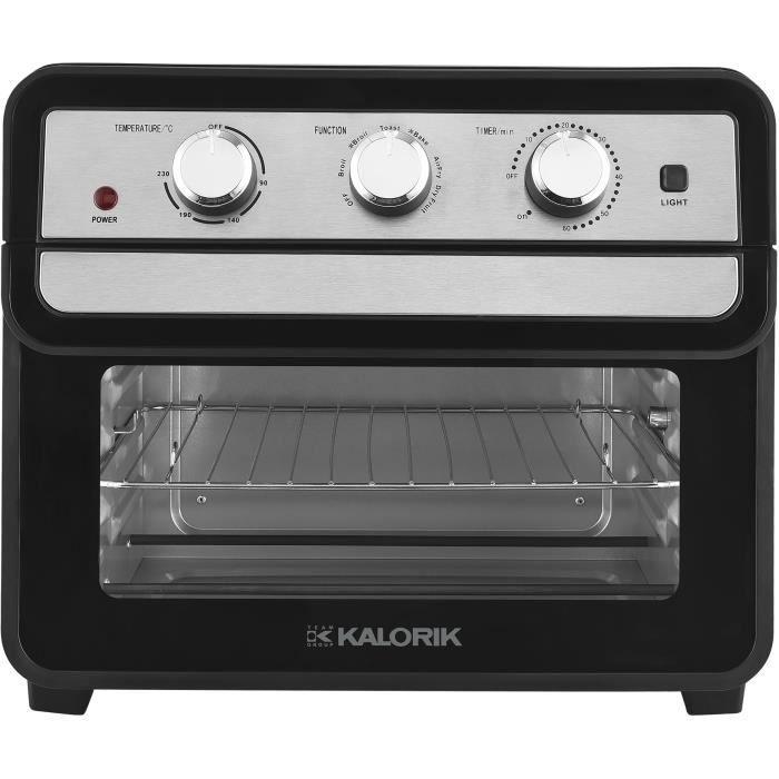 TKG AFO 2000 - Mini-four et friteuse à air chaud combiné - 22L - 1700W - Chauffe en voûte, sole ou combinée - 90-230° C - Noir