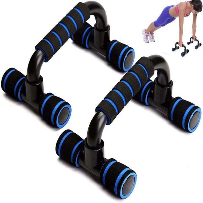 Poignées d'appui pour Pompe/Push-Up Bars Dispositif pour Musculation Bleu, Appareil de fitness à domicile push-ups en forme de I