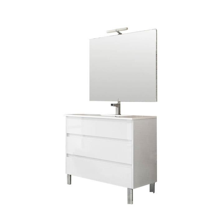 Ensemble de salle de bain TENERIFE 100cm blanc brillant