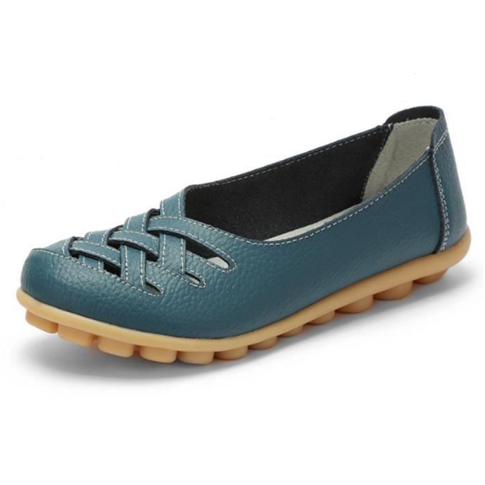 Chaussures Femmes ete Loafer Ultra Leger plate Chaussures BLLT-XZ053Bleu42