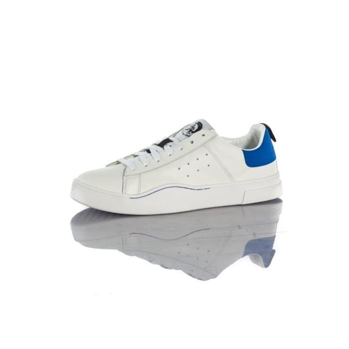 Diesel Baskets en cuir S-clever low white beilliant blue h4034