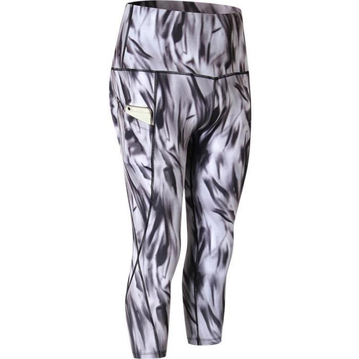 Legging Capri Pantacourt de Sport Femme Avec Poche Taille Haute Amincissant Yoga Fitness Jogging