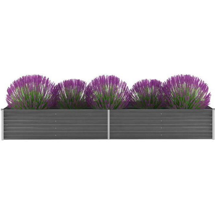 Haute qualité Jardinière Acier galvanisé 320 x 80 x 45 cm Gris