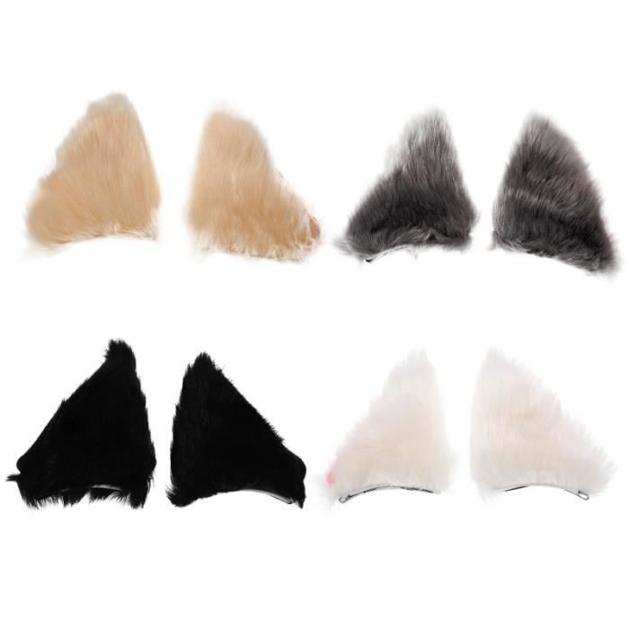4 paires douce charmante chat oreille coiffure cosplay pour filles pince - barrette - chouchou - elastique capillaire