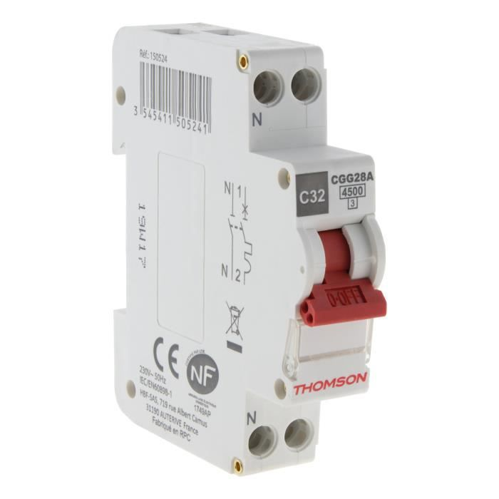 THOMSON Disjoncteur à vis PH+N - 32A NF - Pouvoir de coupure 4.5KA