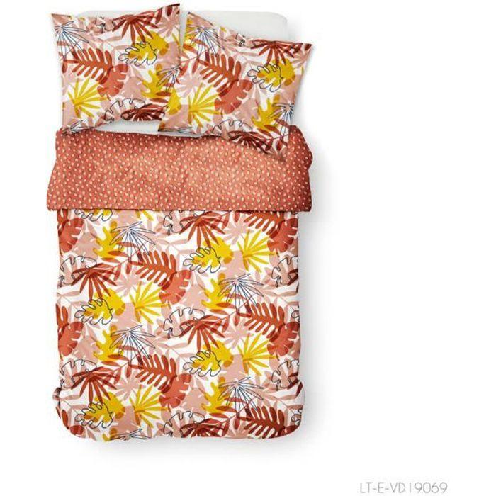 Parure de lit 2 personnes 240X260 Coton imprime marron Floral SUNSHINE