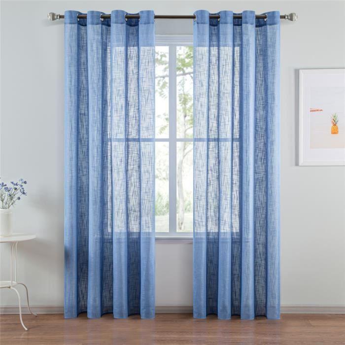 Rideaux Voilage Bleu 140x220 cm à Oeillet en Lin - Simple Élégant pour Salon Moderne Chambre Fille - 2 pièces
