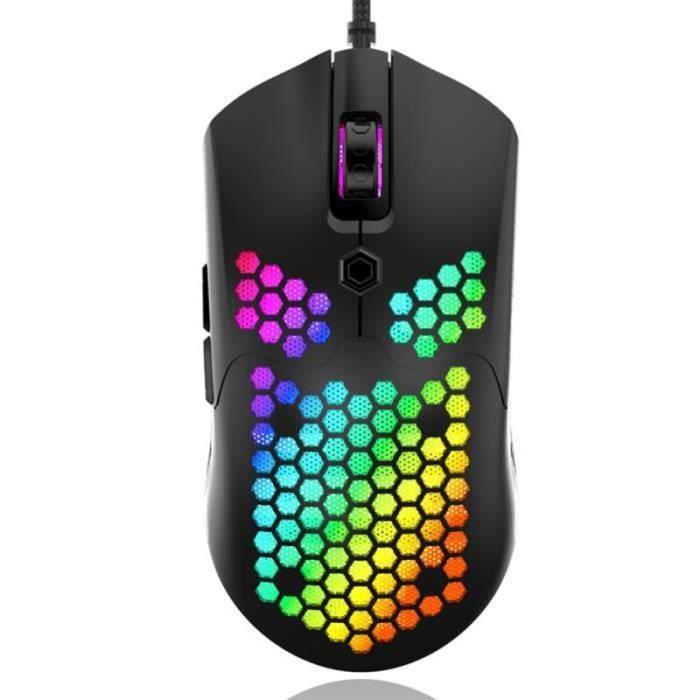 BIR18352-Souris de jeu filaire RGB en nid d'abeille Surface 7 boutons programmables, Souris gaming gamer réglage 800-12000 DPI
