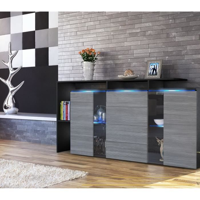 buffet enfilade noir et anthracite 160cm achat vente buffet bahut buffet enfilade noir et. Black Bedroom Furniture Sets. Home Design Ideas