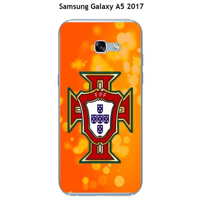 Coque Samsung Galaxy A5 2017 design Foot Portugal fond orange