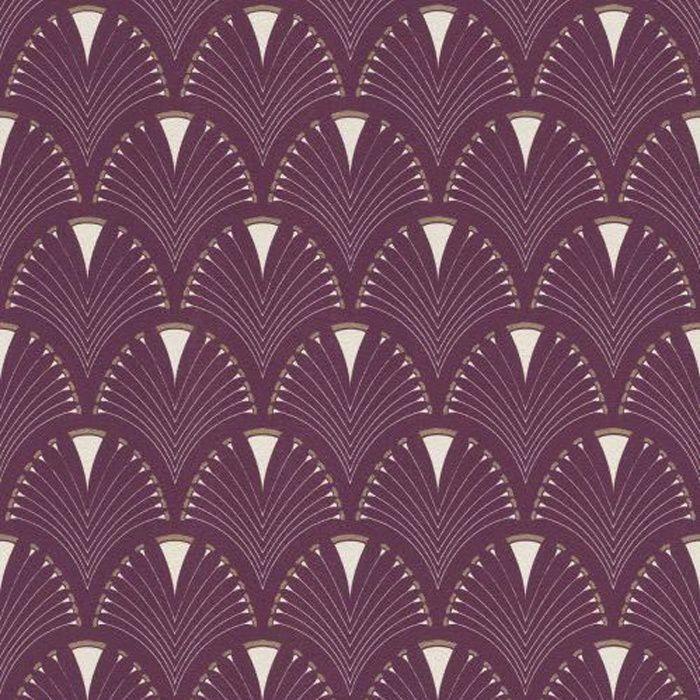papier peint eventail art moderne art deco prune or rasch 433241