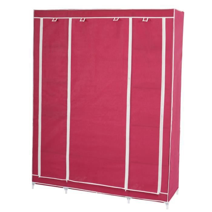 armoire penderie pliante tissu de camping 173x135x45cm rouge achat vente penderie souple. Black Bedroom Furniture Sets. Home Design Ideas
