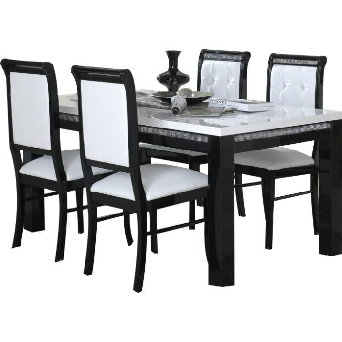 Table manger 160 cm 4 chaises ultra design noir et for Table a manger chaises