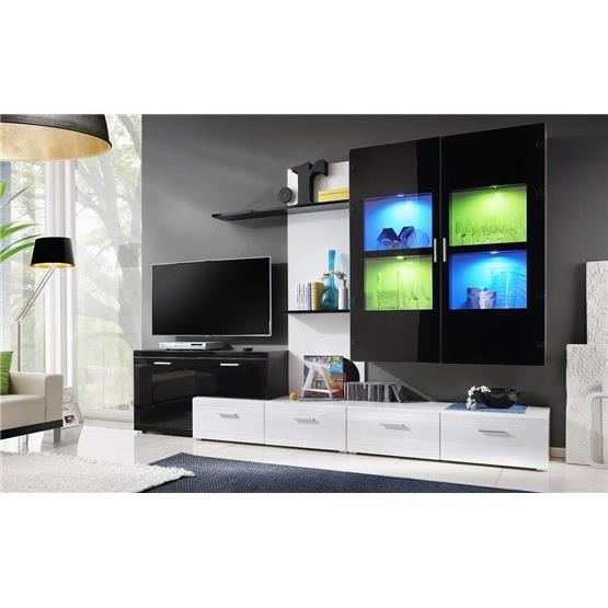 Meuble tv mural design qatak blanc et noir composition for Meuble mural laque brillant design
