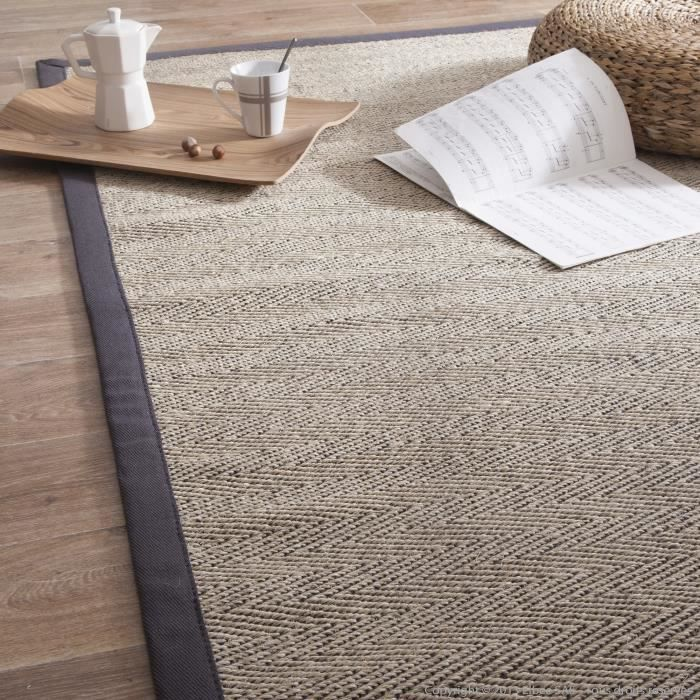 tapis sisal bicolore chevrons avec ganse en coton millstone gris140x200cm achat vente tapis. Black Bedroom Furniture Sets. Home Design Ideas